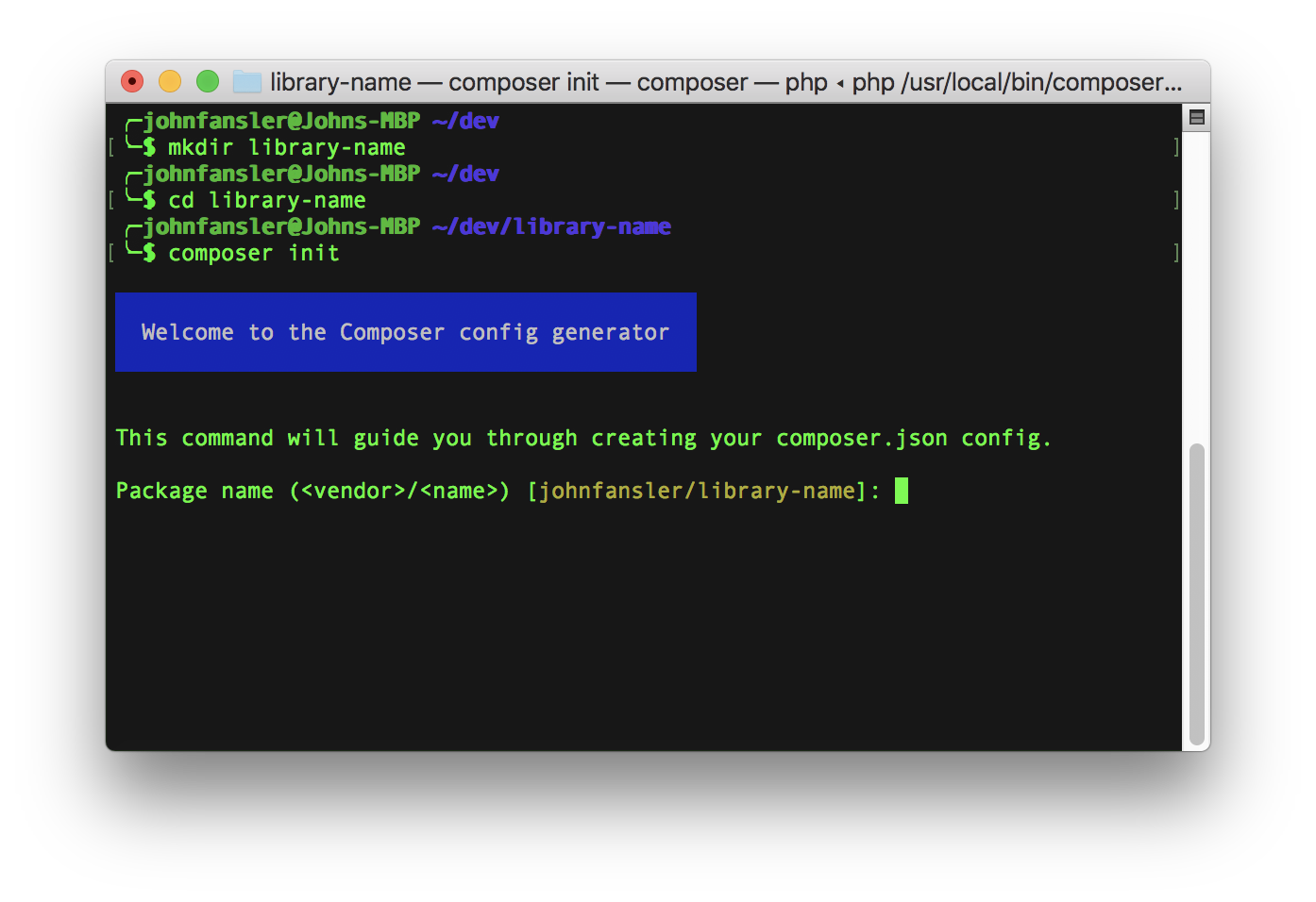 Screenshot of *composer init*
